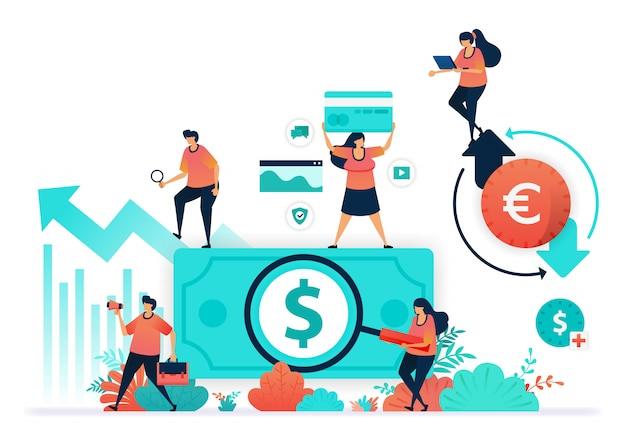 Vector l'illustrazione della circolazione nella finanza aziendale e aumenta il valore dell'investimento