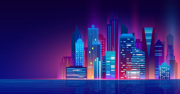 Vector l'illustrazione della città futuristica di notte con le luci al neon. paesaggio urbano sopra l'acqua, bella città moderna di notte, luci della città.