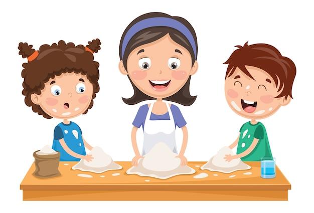 Vector l'illustrazione della madre e dei bambini che preparano la pasta