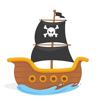 Vector l'illustrazione della nave del pirata dei bambini nell'oceano