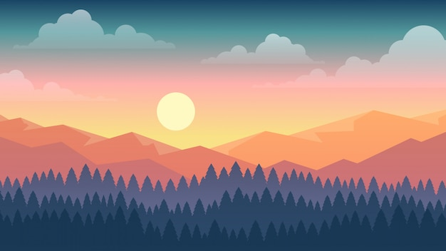Vector l'illustrazione della scena del tramonto in natura con le montagne e la foresta