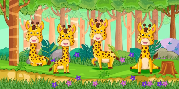 Vector l'illustrazione delle giraffe del fumetto nella giungla