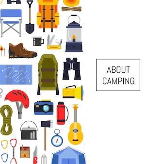 Vector l'illustrazione di campeggio del fondo degli elementi di stile piano con il posto per testo