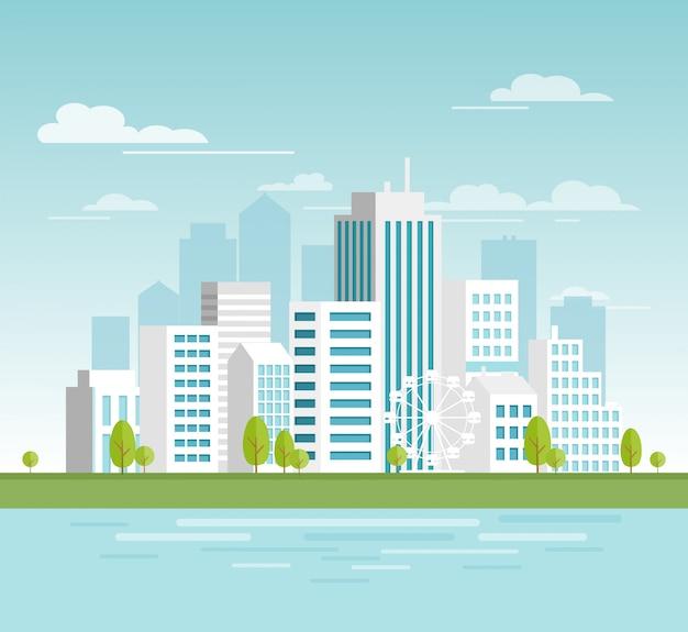 Vector l'illustrazione di paesaggio urbano urbano moderno con i grattacieli bianchi, la città di eco con le grandi costruzioni moderne per la vostra progettazione, insegne. città in stile cartone animato piatto.