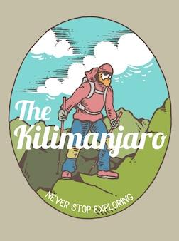 Vector l'illustrazione di un uomo che fa un'escursione sulla montagna con la bella vista