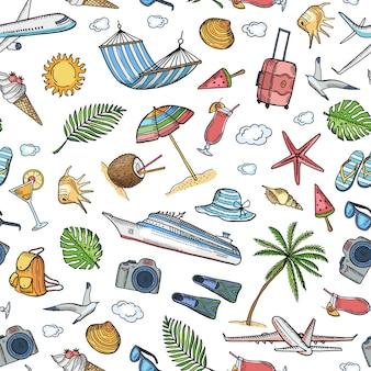 Vector l'illustrazione disegnata a mano del fondo o del modello degli elementi di viaggio dell'estate