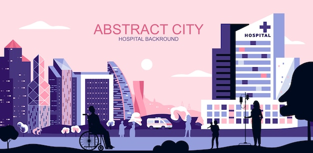 Vector l'illustrazione nello stile piano semplice - paesaggio urbano con il centro di trattamento della clinica medica