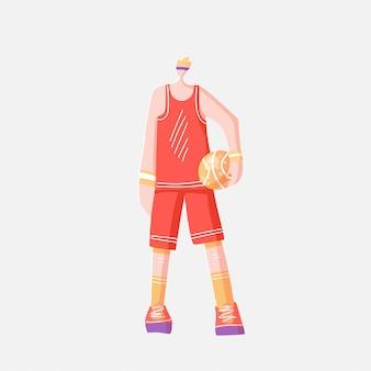 Vector l'illustrazione piana dello sportivo in uniforme arancio rossa di sport, stante con la palla di pallacanestro, isolata su fondo bianco.