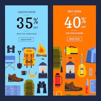 Vector l'illustrazione verticale delle bandiere di web di vendita degli elementi di campeggio di stile piano