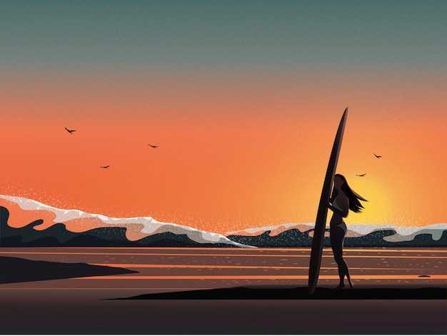 Vector l'immagine dell'illustrazione della spiaggia dell'estate mentre alba o tramonto.