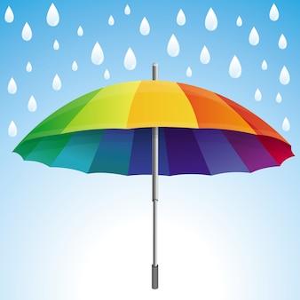 Vector l'ombrello e le gocce di pioggia nei colori dell'arcobaleno - concetto astratto del tempo