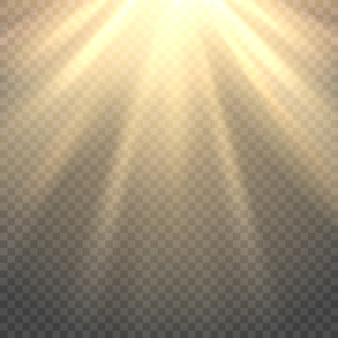 Vector la luce del sole su sfondo trasparente