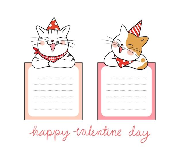 Vector la nota di carta di progettazione del gatto sveglio per il giorno di s. valentino
