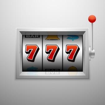 Vector la slot machine con la vittoria fortunata del jackpot del casinò sette
