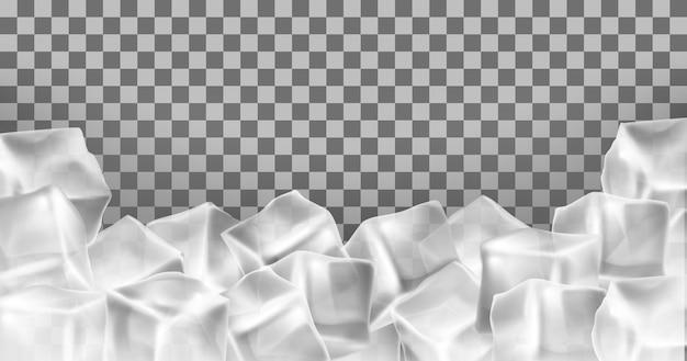 Vector la struttura realistica dei cubetti di ghiaccio 3d, confine. oggetti congelati trasparenti quadrati. isolato di blocchi di gelo