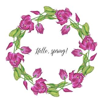 Vector la struttura rotonda colorata della molla floreale con i fiori del tulipano