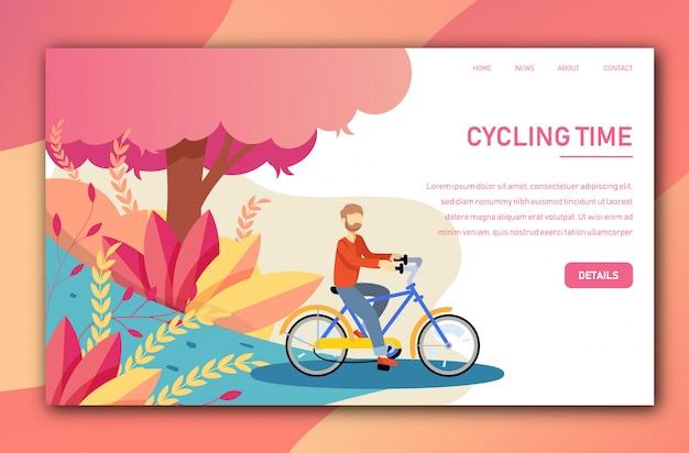 Vector landing page tepmplate con il giovane in bicicletta una bicicletta