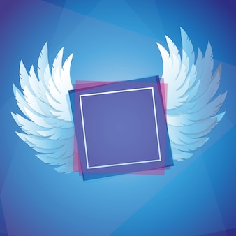 Vector le ali con la struttura quadrata - concetto di libertà nel fondo blu di colore