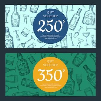 Vector le bottiglie disegnate a mano dell'alcool e vetri di sconto o l'illustrazione dei modelli del buono della carta di regalo