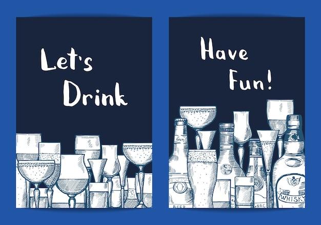 Vector le bottiglie e gli occhiali disegnati a mano della bevanda dell'alcool messi dei modelli della carta per l'illustrazione del night-club o della barra