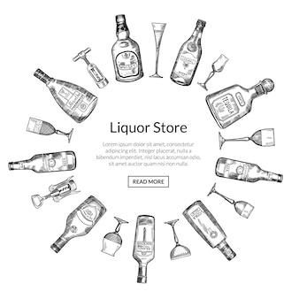 Vector le bottiglie ed i vetri disegnati a mano della bevanda dell'alcool nella forma del cerchio con il posto per testo nell'illustrazione rotonda concentrare