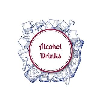 Vector le bottiglie ed i vetri disegnati a mano della bevanda dell'alcool sotto il cerchio con il posto per l'illustrazione del testo