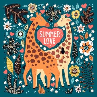 Vector le giraffe disegnate a mano piatte circondate dalle piante e dai fiori tropicali.
