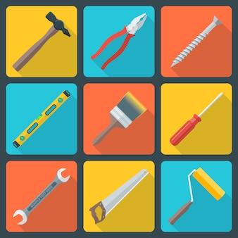 Vector le icone piane dell'attrezzatura degli strumenti di riparazione della casa di progettazione di colore di vario con ombra