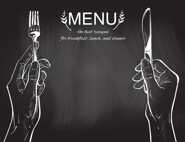 Vector le mani tenendo un coltello e forchetta