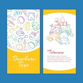 Vector le pagine dell'opuscolo dei bambini con i giocattoli dei bambini di scarabocchio
