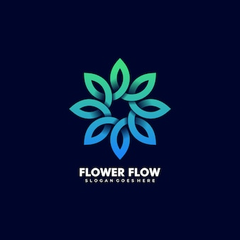 Vector logo illustration estratto fiore foglia infinità linea forma stile colorato