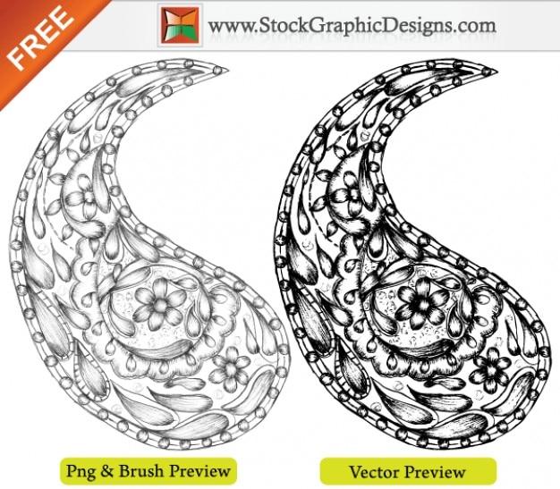 Vector mano libera sketchy drawn paisley designs