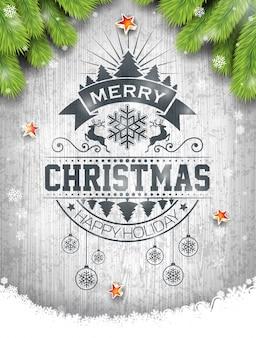 Vector merry christmas holiday e happy new year illustrazione con disegno tipografico e fiocchi di neve