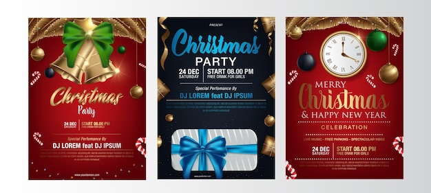 Vector merry christmas party poster