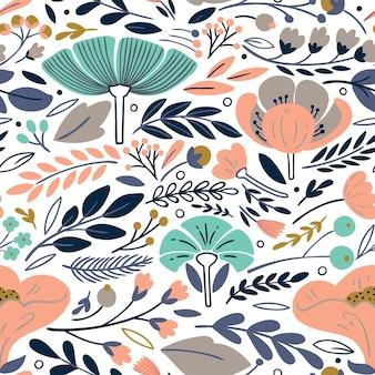 Vector motivo floreale con fiori e foglie.