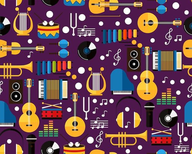 Vector musica di pattern di trama piatta senza soluzione di continuità.