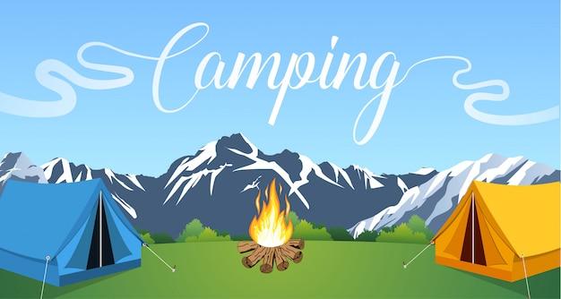 Vector piatta illustrazione campeggio.