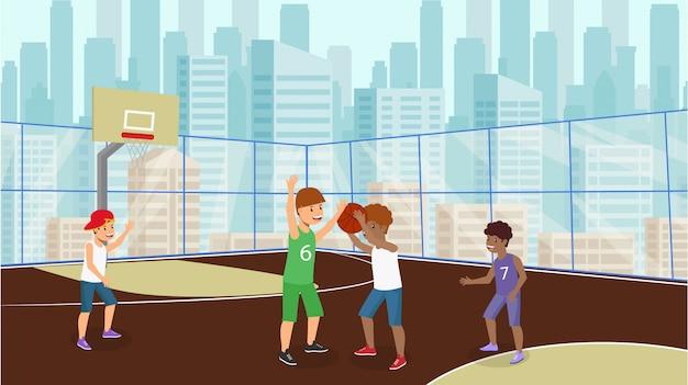 Vector piatto molti bambini giocare a basket ragazzo bianco.