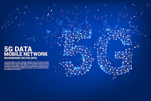 Vector poligono dot collegare a forma di linea 5g rete di rete mobile
