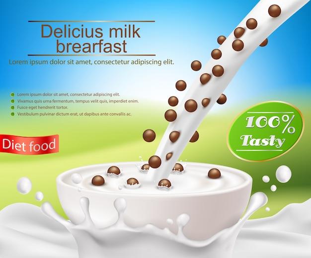 Vector poster realistico con una spruzzata di latte e latte versando in una tazza con una colazione a base di cereali, palle da cereali di cioccolato
