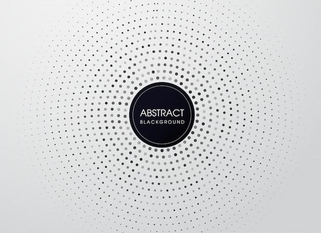 Vector punto mezzatinta con cornice cerchio nero. aspetto moderno.