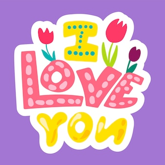 Vector romantic love patch in stile doodle