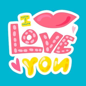 Vector romantic love patch in stile doodle