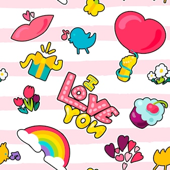 Vector romantic love seamless pattern