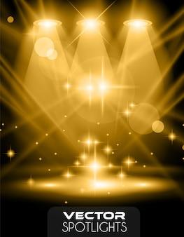 Vector scena di faretti con diversa fonte di luce che punta al pavimento o mensola.