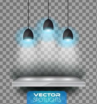 Vector scena di faretti con diversa fonte di luce che punta verso il pavimento o mensola.