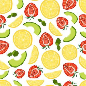 Vector seamless con avocado, limone, fragola
