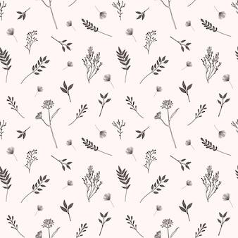 Vector seamless con fiori, erbe e elementi botanici in stile disegnato a mano