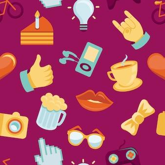 Vector seamless con icone alla moda hipster