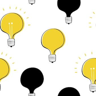 Vector seamless in stile cartone animato. lampadine.